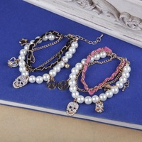 Women Lady Fashion Multi Pendant Skull Crown Stars Artificial Pearl Bracelet Bangle,