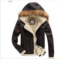 Free shipping !! New Men's brand Amercia pilot fur thickening lamb flocking air force leather jacket coat / M-L-XL-XXL