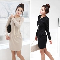 2014 new hot fashion spring women clothes sexy cute ladies fall dresses Slim was thin long-sleeved dress OL commuter