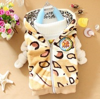 Children's clothing autumn and winter male child girls clothing zipper with a hood vest baby clothes ploughboys