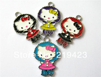 New  Products ! 50pcs Hello kitty cat  DIY hang charms Fit Wristbands/Pet Name Collars