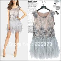 The latest brand dress 898 Eugen yarn embroidery Ruffle Dress