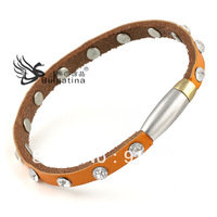 2013 Top New !!! Bracelet Lether With Stainless Steel AAA Quality  Hot Sale, Free Shipping