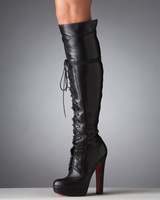 2013 winter women over the knee boots genuine leather red bottom black women's shoe lace up strap bootie