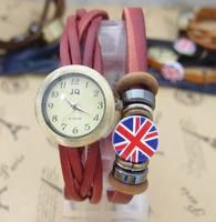 Hot sale Fashion women dress watch vogue watches men Flag leather strap wrist watch High quality quartz wristwatch kow050