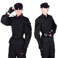 Black unorthodox american style stand collar training uniform male suits training uniform cs set security uniform men