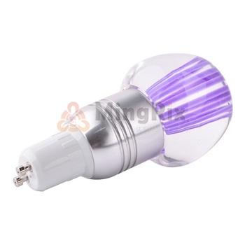 5pcs/lot 3W GU10 16 COLOR CHANGING RGB LED LIGHT CRYSTAL APPLE SHAPE BULB LAMP AC 85-265V