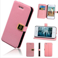 Luxury D Magnetic Buckle PU Flip Case Card Wllet Leather Cove for iphone 4 4G 4S