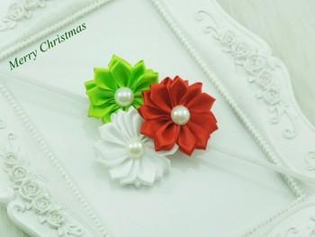 Girls Christmas Headband Satin Ribbon Triple Flowers Elastic headband Baby Girls Hair Accessories 240pcs
