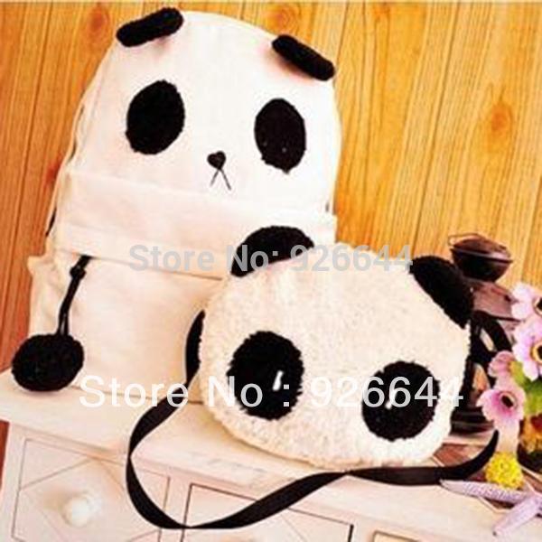 New Hot Fashion Cute Women Style Panda Schoolbag Backpack Shoulder Book Bag Set free shipping 5406(China (Mainland))