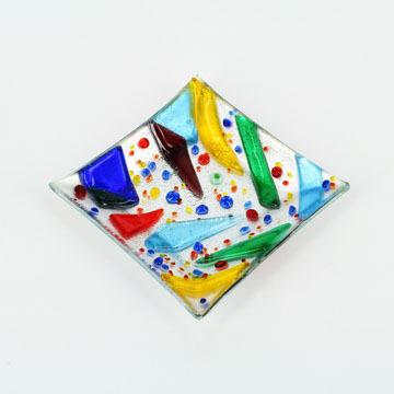 Free Shipping Original Colorful Fused Art Glass Dish Geometric Shape Deco(China (Mainland))