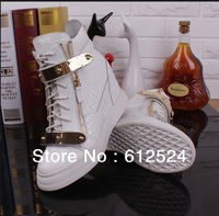 Drop shopping black/white leather serpentine women sneakers gold metal incrasing winter ankle  boots