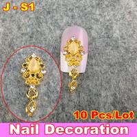 Fashion 3D Metal Nail Art Decoration / Cellphone Rhinestone Glitters Decoration, 10pcs/lot + Free Shipping
