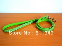 Free Shipping NEW Pet Products Dog PU Leather Leashes For Small Medium Dogs Cats Polka Dot Lead Pulling Rope Green