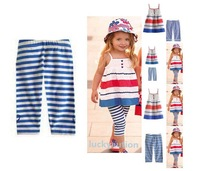 Kids Baby Girls Skirt+ Pants 2 Pcs Set Blue Striped Straps Outfits Clothes