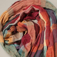 2013 autumn and winter scarves cotton linen colored plaid cotton scarves women 20% silk