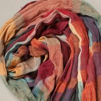 2013 autumn and winter scarves cotton linen colored plaid cotton scarves women 20% silk