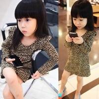 Girls clothing leopard print one-piece dress basic shirt