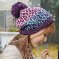 Free Ship Rayli Hat winter female sweet thick yarn knitted warm hat small peach heart multicolor