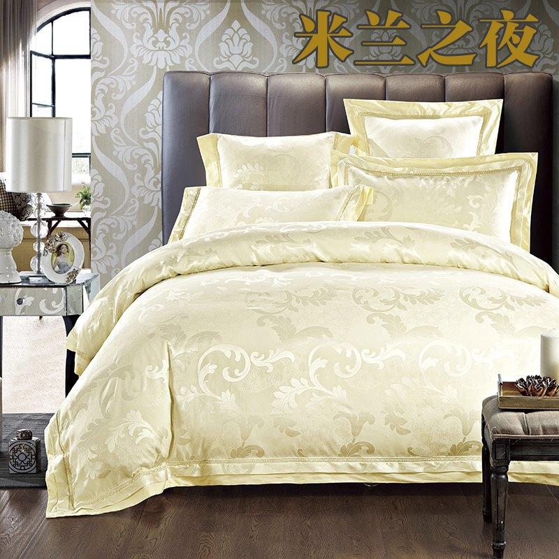 beige jacquard silk comforter cover king queen size 4pcs