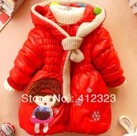 New 2013 children girls kids fashion coats hoody for winter cartoon jacket outwear holiday retail