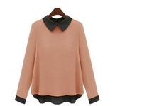 Free Shipping New Fashion Autumn Women Shirt Irregular Hem Peter Pan Collar Long Sleeve Chiffon Blouse Plus Size