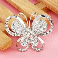 Free Shipping Fashion Alloy Cheap Brooch Crystal Butterfly Brooch Women Silver Brooch For Wedding