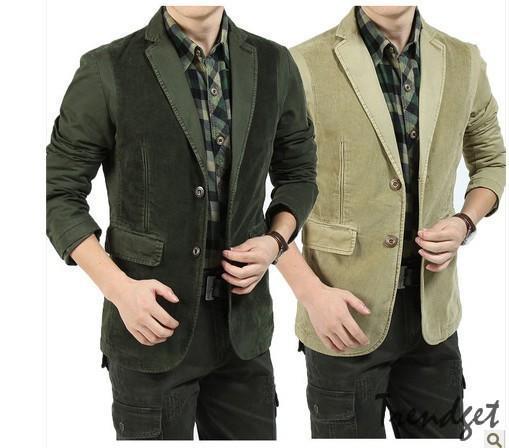 New 2013 Man two buttons Suits Spring Autumn Men Casual Coat corduroy Cotton Coats Khaki Army green xxxl Outwear Free Shipping(Hong Kong)
