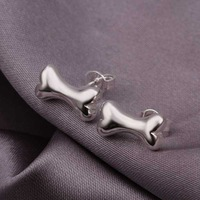 Hot Sell!Wholesale 925 silver earring,925 silver fashion jewelry Earrings,Cute Bone Earring For Men SMTE309