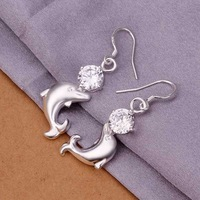 Hot Sell!Wholesale 925 silver earring,925 silver fashion jewelry Earrings,Inlaid Stone Cute Dolphin Earring SMTE270