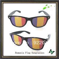 Rumania flag sunglasses sticker sunglasses Recreation Glasses Fun Party Pin Hole Wayfarer Sunglasses Cartoon Eye Design