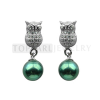 Free Shipping! 7-7.5mm Peacock Green Cultured Pearls 925 Sterling Silver Stud Earrings SE183