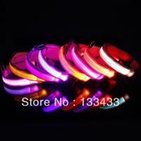 5PCS Pet Safety LED Dog Collar Night Flashing Glow Light Pink Nylon Collar S M L XL SL00404 Free Shipping