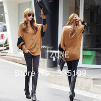 2013 Autumn Winter Women's Ladies Casual Loose Batwing Long T-Shirt Tops Hip-length Blouse 18353