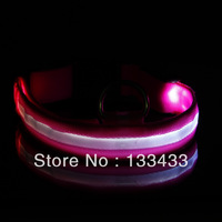 Pet Safety LED Dog Collar Night Flashing Glow Light Pink Nylon Collar S M L XL SL00404 Free Shipping