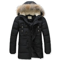 Free Shipping Brand Winter Super Warm Men's Down Jacket Big Fur Collar Man Down Coat Long Style Winter wear 90% White Duck Down