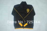 A+++ 2013 2014 Top quality Brazil soccer jackets,2014 Brasil Sports Coat Training Kit away black with embroidery logo