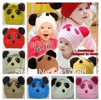 Free shipping 2013 Autumn and winter Lovely Panda hat shape Knitted hat Baby warm hats Children's Knitted caps Infant Ear caps