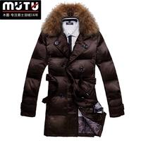 Commercial 2013 Slim Large Furs Collar Men Down Coat Male Long Design Thickening Men's Fur Jacket Men's Coat Winter XXXL CHINA