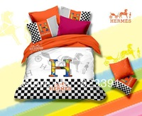 new arrival dorp ship free shipping printed brand new H orange cotton 4pcs bed sheet set bedding set duvet cover set