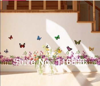 Free shipping new 2014 decorative purple flower fence with butterfly  Wall Decor Stickers for home diy footline vinyl sticker