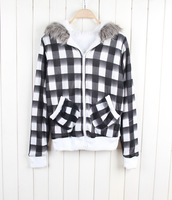 Promotions! Free shipping women's wear on both sides in black and white plaid sweater jacket zipper hooded winter coat 2194