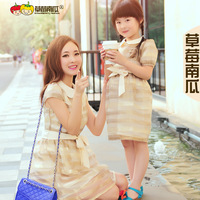 Strawberry pumpkin family fashion summer 2019 clothes for mother and daughter gold organza short-sleeve slim waist one-piece