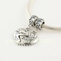 Mother & Daughter together, Love Heart 925 Sterling Silver Slider Dangle Charm Beads Gift, Suitable for Pandora Bracelet