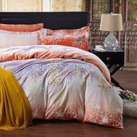 Free Shipping,cotton sand duvet/comforter covers sakura flower orange purple fashion queen/king bed in a bag 4pcs bedding sets