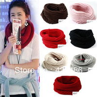 2013 New Fashion Women Ladies Warm Knit Neck Circle Wool Blend Cowl Snood short  Scarf Shawl Wrap Free Shipping