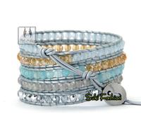 High Quality New Semi Precious Stone With Crystal Leather Wrap Bracelet Beads Bracelet Stone Bracelet