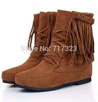 2013 winter flat heel boots fashion rivet tassel boots elevator martin boots snow boots big size 34-43