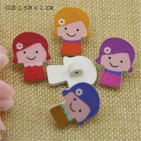 Free Shipping 100pcs mixed sweater pure wood self-shade decorative pattern cute button broochs chevron printed girl 6201