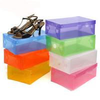 Free shopping Color transparent shoe box Flip the shoe storage boxes Dust-proof shoe storage boxes Home supplies storage boxes
